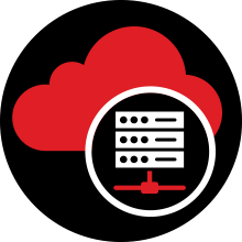 Hosted cloud servers icon